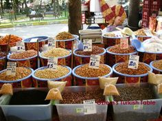 A nuts stall in Levent Market, Pazar - Istanbul. Nuts have an important part in Turkish cuisine (and it is OK to have a little siesta in hot summers day! Fruit And Veg Market, Farmers Market, Turkish Borek, Spinach Rolls, Olive Salad, Pomegranate Molasses, Turkish Recipes, Persian Recipes, Eastern Cuisine