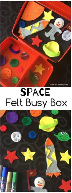 Space busy box, fun felt ideas for traveling, quiet time! Quiet Time Activities, Space Activities, Preschool Activities, Summer Activities, Space Preschool, Preschool Learning, Indoor Activities, Family Activities, Montessori
