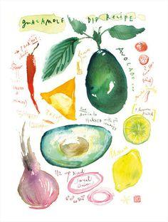 Kitchen print, Guacamole recipe, Food illustration, Watercolor poster, Kitchen decor, 8X10 print, avocado, vegetable art. $25.00, via Etsy.