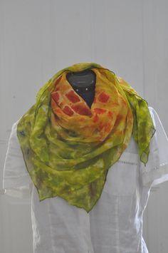 Silk Shibori Scarf - Hand Dyed Silk Scarf - Yellow, Orange, Red, Green - Gift for Her - Silk Chiffon by WhatJennyMakes on Etsy Orange Red, Red Green, Yellow, Chiffon Scarf, Silk Chiffon, Dyed Silk, Green Gifts, Shibori, Gifts For Her