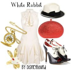 An Alice in Wonderland inspired outfit. I don't know how much this really looks like the white rabbit, but I like the dress and love the hat. The spats-as-high-heels look is interesting too, but I don't like that they're open-toed.