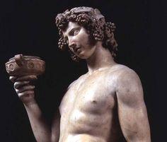 Michelangelo (Buonarroti) - The Drunkenness of Bacchus, detail of his head, sculpture by Michelangelo Buonarroti (1475-1564)