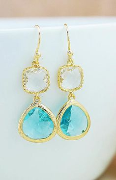 Aquamarine glass drops Earrings from EarringsNation