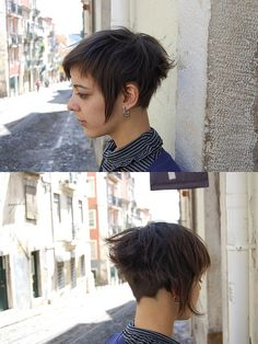I love the long bits on the sides! I'm always drawn to fun asymmetrical cuts... (short hair asymmetric by wip-hairport, via Flickr)