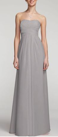 Long strapless chiffon with pleated bodice - in mercury - David's Bridal bridesmaid dress
