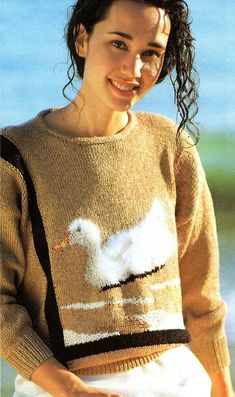 Fluffy duck sweater Ladies knitting pattern Intarsia. Women's jumper, pullover. Jumpers For Women, Sweaters For Women, Men Sweater, Knitting Patterns, Turtle Neck, Pullover, Lady, Pictures, Fashion