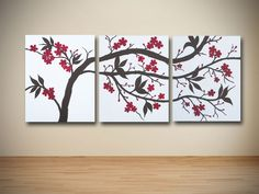 Original Brown and Red Cherry Blossom Triptych Painting on Canvas - Asian - Artwork - orange county - by Sarah Schmid Designs Multi Canvas Painting, Multiple Canvas Paintings, Large Canvas Wall Art, Metal Tree Wall Art, Diy Canvas, Diy Wall Art, Diy Art, Canvas Art, Canvas Ideas