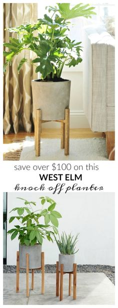 West Elm Knock Off Mid-Century Planter + How I Saved Over $100