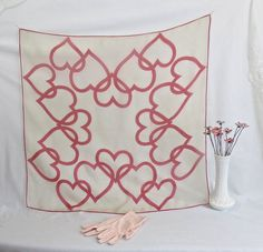 Vintage 1950's Silk Chiffon Valentines Day Scarf by delilahsdeluxe, $17.50