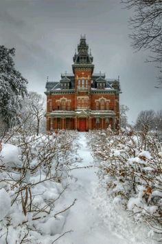 The Vaile Mansion, Independence, MO in winter Built in 1881 Colonel Harvey Vaile. It is Second Empire Victorian Architecture. Victorian Architecture, Beautiful Architecture, Beautiful Buildings, Beautiful Homes, Beautiful Places, School Architecture, Classical Architecture, Old Buildings, Abandoned Buildings