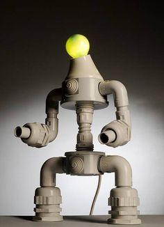 Lámparas robot hechas con materiales comunes — Tecnoculto