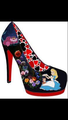 This is an Alice in wonderland inspired high heel. The outside of the shoe is a dark cool background with warm pastel flowers, Alice and the Cheshire Cat from the Disney version. On the inside of the shoe are red and black hearts.