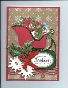Christmas 2014 Card made with Anna Griffin paper, dies and Holiday Traditions Card Kit...By Sandi Beecher
