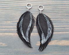 Black & Silver Leather Feather Earrings. Long Dangle Earrings. Soft Leather Bohemian Earrings. Light Weight Large Earrings. Boho Earrings.