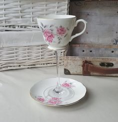 Pink floral teacup wineglass/cocktail glass by PrettyRandomCrafts