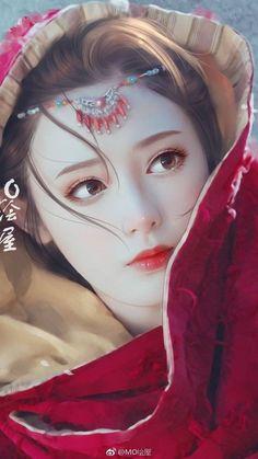 38 ideas chinese art girl asian beauty drawings for 2019 Anime Art Fantasy, Fantasy Art Women, Beautiful Fantasy Art, Fantasy Girl, Fantasy Artwork, Anime Girl Cute, Anime Art Girl, Painting Of Girl, Digital Art Girl