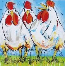 Afbeeldingsresultaat voor kippen schilderij Funny Paintings, Quirky Art, Animal Sketches, Hens, Art Lessons, Animals And Pets, Watercolor Art, Graffiti, Birds