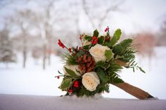 Winter wedding bouquet... roses, holy, pinecones!