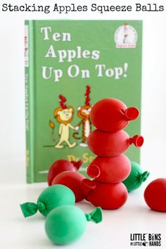 Apple Squeeze Balls Stacking Activity for Ten Apples up On Top. toddler, preschool, and kindergarten Preschool Apple Theme, Fall Preschool, Preschool Books, Preschool Apples, Letter A Preschool, Kindergarten Apples, Kindergarten Literacy, Toddler Preschool, Autumn Activities