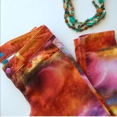 Playful Colorful Denim  Multi color- worn once but not for more than 3 hrs. L'Amour Pants Straight Leg