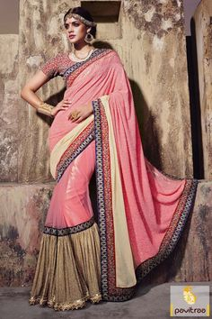 #Light Pink and Beige, #Georgette, # Designer, #Wedding, #Bridal, #Lehenga Saree, #Festival, #Party, #Diwali, #Sangeet. Online By: http://www.pavitraa.in/store/one-minute-saree/
