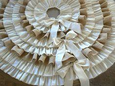 Burlap Ruffled  Christmas Tree Skirt  with Bow by ShabbieChicHome, $145.00