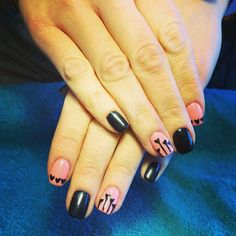 Black & Pink Heart nails for Valentine's Day