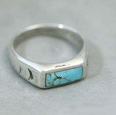 Vintage Navajo Sterling Silver Inlaid Turquoise Band Style Ring