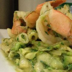 Prawn zucchini pasta 427 calories, 9g fat (3g saturated), 44.5g carbs, 20g protein, 6g fiber Serves: 1 Ingredients: 2/3 cup penne pasta 2 teaspoons plus 1/4 teaspoon olive oil