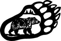 Grizzly Bear Paw Print Black And White Clipart - Clipart Suggest Bear Stencil, Stencil Art, Stencils, Machine Silhouette Portrait, Bear Paw Print, Wood Badge, Bear Drawing, Bear Tattoos, Drawing Clipart