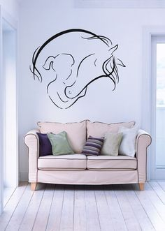 Abstract Girl And Horse Positive Decor Wall MURAL Vinyl Art Sticker z769