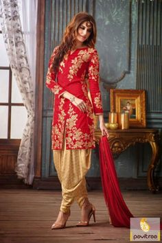 Patiala Salwar suit of Golden Red Chiffon Suit only at www.pavitraa.in #Salwarsuit #Patiala