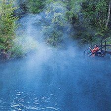 Man sitting at the edge of a natural hot springs (Albert Normandin photo) Thermal Pool, Places Worth Visiting, O Canada, Man Sitting, Columbia Travel, British Columbia, Cultural Experience, Swimming Holes, Water Activities