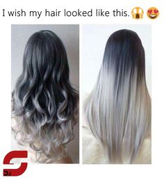 5 Star Seller Black to Grey Ombre Hair Extensions Silver Hair Grey Hair Extensions Gray Ombre Hair human hair extensions full set Black To Grey Ombre Hair, Ombre Hair Color, Gray Ombre, Silver Ombre, Hair Colors, Reverse Ombre, Grey Dye, Pelo Color Gris, Ombre Hair Extensions