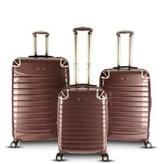 Gabbiano vintage collection 3 piece set is made with Polycarbonate which ensures top quality. Set includes 1 carry on + 2 checked bags. 3 Piece Luggage Set, Luggage Sets, Old Suitcases, Outdoor Woman, Seasonal Decor, Mom And Dad, Burgundy, Purses, Bags
