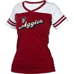 boxercraft Women's New Mexico State Aggies Crimson/White Powder Puff T-Shirt, Size: Medium, Team