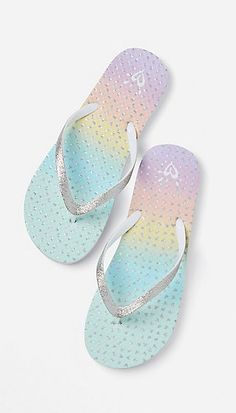 Two Strap Sandals, Open Toe Sandals, Kid Shoes, Girls Shoes, Glitter Flip Flops, Baby Doll Nursery, Girls Flip Flops, Cute Slippers, Tween Girls