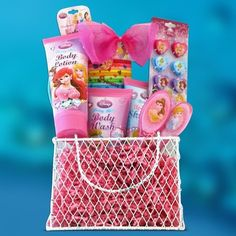 Perfect Birthday, Gift Baskets for Girls Disney Princess Toiletries Kids Gift… Pre Made Easter Baskets, Kids Gift Baskets, Birthday Gift Baskets, Birthday Gifts, Christmas Baskets, Christmas Gifts, Christmas Ideas, Xmas, Get Well Gifts