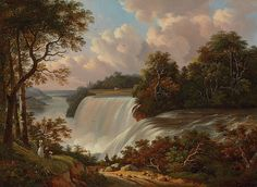 Global Gallery Niagara Falls Scene by Victor DeGrailly Framed Painting Print Size: Painting Frames, Painting Prints, Paintings, Autumn Painting, Beach Landscape, Ways Of Seeing, Elements Of Art, In The Tree, American Artists