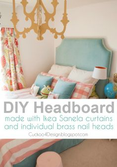 DIY upholstered headboard with individual brass nails and Ikea Sanela curtains