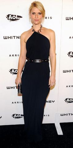 Look of the Day › October 27, 2010 WHAT SHE WORE Danes wore a silk chain-link halter Lanvin gown with the designer's black leather wedges, studded belt and shell clutch to the Whitney Gala and Studio Party.