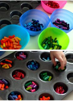 Melt your broken crayons in muffin tins and then let them cool! they will make awesome gifts, center pieces, or just something fun to do at home