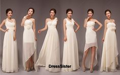 Champagne Bridesmaid Dress  Ivory Bridesmaid Dress by DressSister, $99.99 | I kinda like the hi-low one second from the right