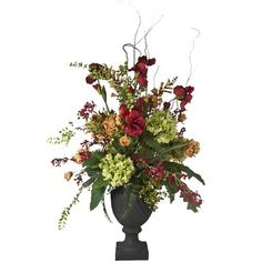 The price for this Faux Garden Flower Arrangement is absurdly high, but its really beautiful.  I wonder if i can recreate it?  Michael's puts their silk florals on 50% off sale pretty often ...
