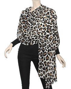 Beige Leopard Scarf Available in beige, brown and grey