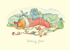 """Two Bad Mice Greeting Cards by Anita Jeram: """"Stocking filler"""" Christmas Animals, Christmas Cats, Xmas, Christmas Illustration, Children's Book Illustration, Animal Drawings, Cute Drawings, Anita Jeram, Christmas Card Pictures"""