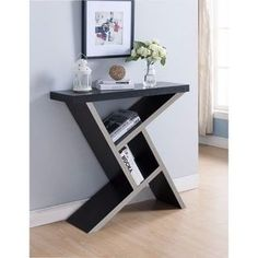 Brown Asymmetrical Shelf Wood Console Table | Overstock.com Shopping - The Best Deals on Coffee, Sofa & End Tables