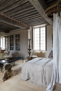 greige: interior design ideas and inspiration for the transitional home : greige and gold in France... #exposedbeams