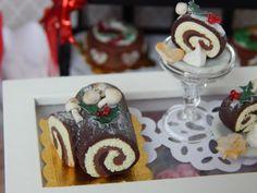 Miniature Yule Log Roulade Holiday Cake by JansPetitPantry on Etsy