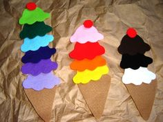 Rainbow Counting Ice Cream Cones by feltyfun on Etsy could make easily and add buttons for fine motor